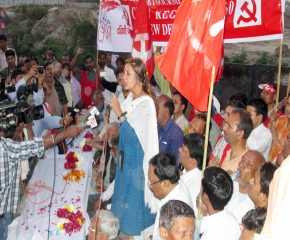 Brinda Karat Addressing the Meeting at Mahipalpur