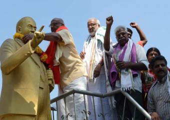Garlanding Ambedkar's Statue at Kamareddy