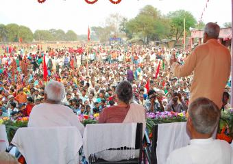 Prakash Karat Addressing the Madhubani Meeting