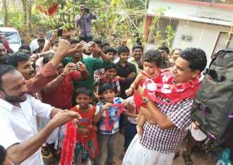 Com. A N Shamseer, CPI (M) Candidate from Vadakara Lok Sabha Constituency being received at Thalassery