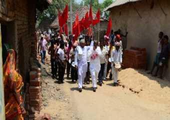 Com. Basudeb Acharia campaigning in Mejia, Bankura.