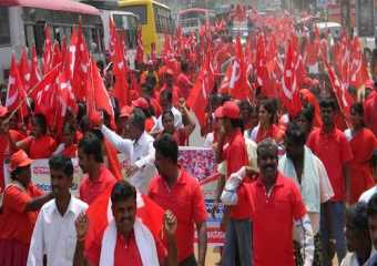 A big march being taken out  in support of Com G V Sreerama Reddy in Chikballapur