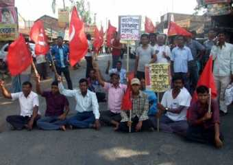 Protest against the attack on Com. Tapas Sinha.