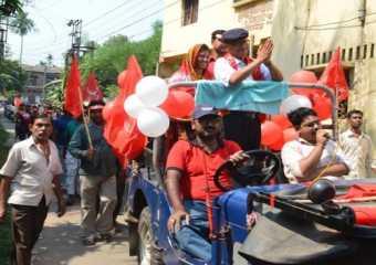 Com. Sreedip Bhattacharya campaigning in Dhulagori, Howrah.