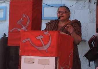 Sehba Farooqui addressing the rally at Moradabad