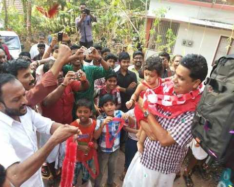 Com. A N Shamseer, CPI (M) Candidate from Vadakara Lok Sabha Constituency being received at Thalassery