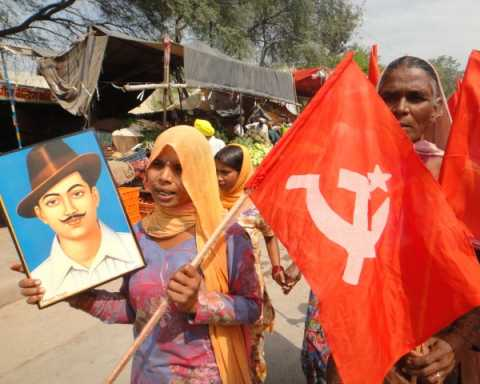 Women participating in CPIM election campaign in Sirsa, Haryana on Martyrdom Day