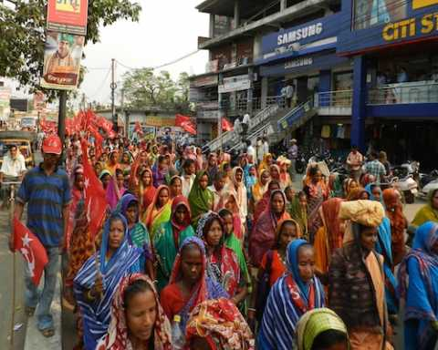 Women participating in campaign rally supporting CPIM Lok Sabha and Assembly candidates in Berhampur, Odisha