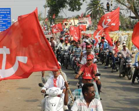Motorcycle rally in support of CPIM Lok Sabha and Assembly candidates in Berhampur, Odisha