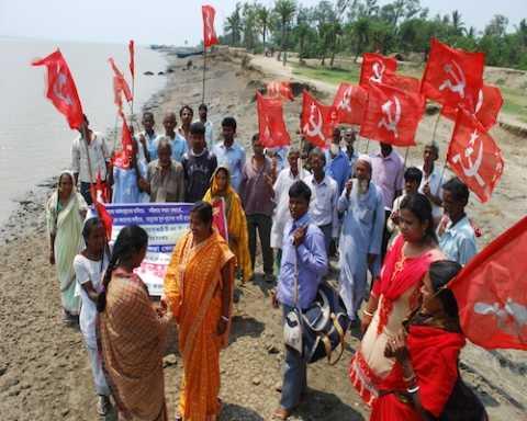 CPIM candidate Com Rinku Naskar campaigning at Ghoramara Island, Mathurapur