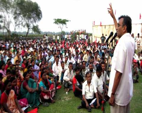 Com Surjyokanta Mishra addressing workers meeting at Dhaniakhali, Hoogly