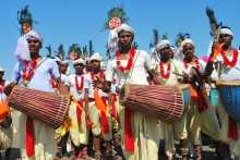 Jatha Being Welcomed by Drummers at Purulia