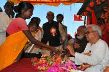 Biman Basu Being Welcomed at Johna