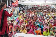 Brinda Karat At the Hanumangarh Meeting