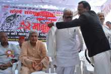 Biman Basu Being Felicitated at Etawah