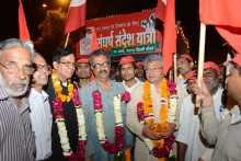 Western Jatha Leaders Being Received at Delhi Border