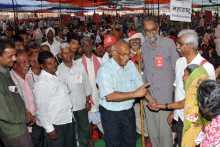 P.B. Member S Ramachandran Pillai & Others visiting the Rally Camp at Ramlila Maidan