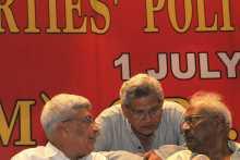 Prakash Karat, Sitaram Yechury & Bardhan At Left Parties Convention, July 1, 2013