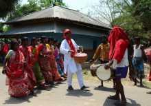 Com. Khagen Murmu campaigning in Malda Uttar.