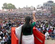 Com. Brinda Karat addressing a rally in Raninagar, Murshidabad.