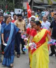 Com. Brinda during campaign in Naxalbari, West Bengal