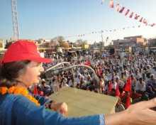 Com Brinda addressing public meeting in Uchana Mandi, Haryana