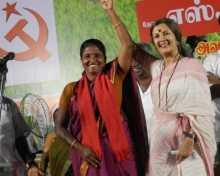 Com. Brinda Karat campaigning for S. Tamil Selvi in Thanjavur