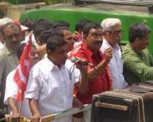 G V Sreerama reddy, A K Padmanabhan and Vijoo Krishnan at the rally