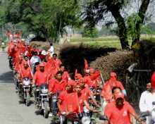 Motorcycle rally bring taken out in support of CPI(M) candidate Com. Ram Kumar Bahbalpuria in Sirsa