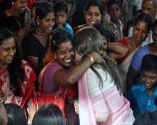 Com Brinda Karat meeting women during campaign in support of Com A.Vijayaraghavan
