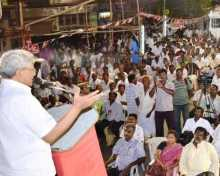 Com. Sitaram Yechury campaigning for Com. B. Vikaraman in Madurai.